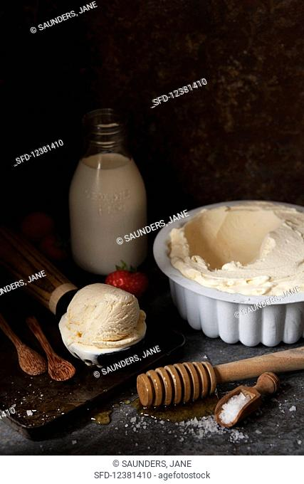 Salted Honey Ice Cream with ingredients