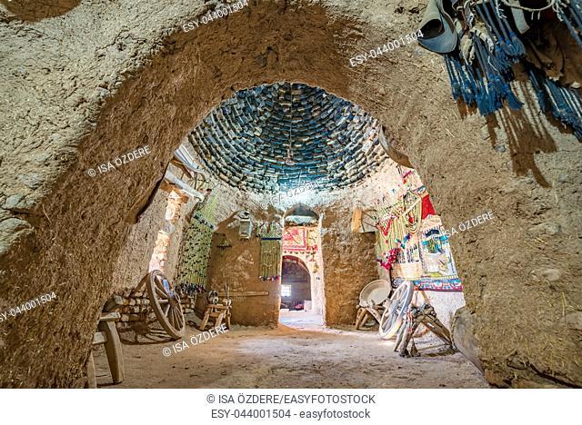 Interior view of traditional beehive mud brick desert houses in Sanliurfa,Turkey