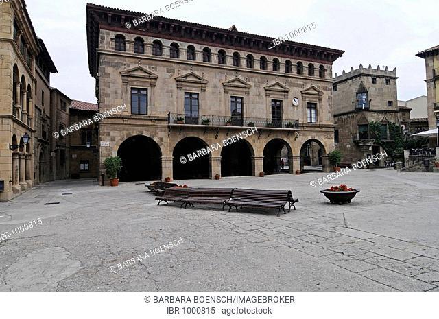 Placa Mayor, Poble Espanyol, Spanish village, open air museum, Montjuic, Barcelona, Catalonia, Spain, Europe