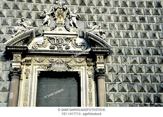 The unusual black tiled facade of the Gesù Nuovo, Naples, Italy