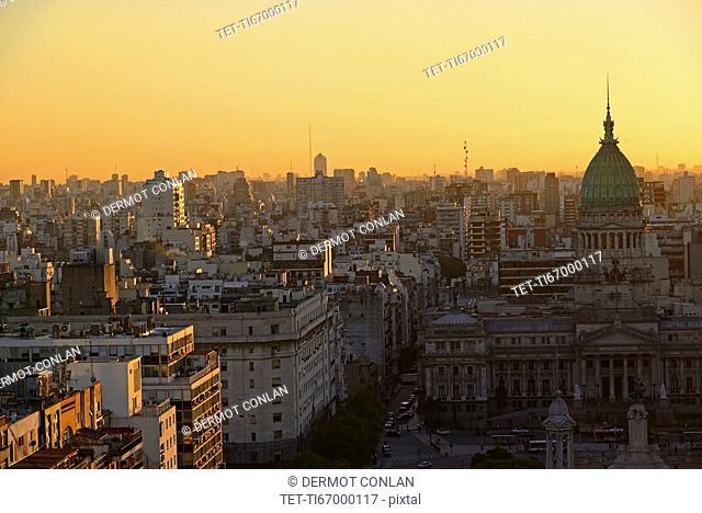 National Congress Palace and Balvanera barrio at dusk