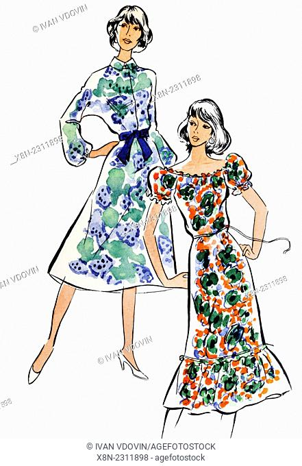 Vintage girls from 1970s fashion magazine, on white background
