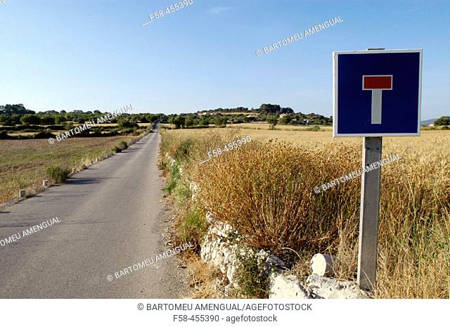 No End sign. Road of Mallorca. Balearic Islands. Spain