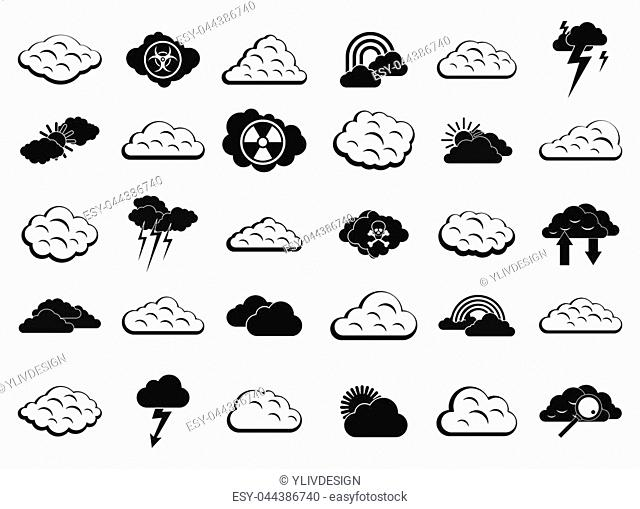 Cloud icon set. Simple set of cloud icons for web design isolated on white background