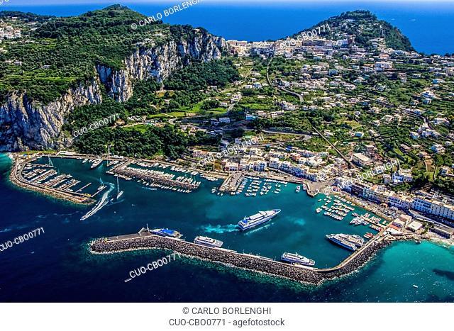 The port of Capri is the main seaport on the island of Capri and is located in Marina Grande, Capri island, Campania, Italy, Europe