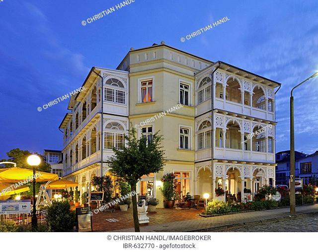 Typical architecture on Wilhelm Street, Sellin, beach resort town, Ruegen, Germany, Europe