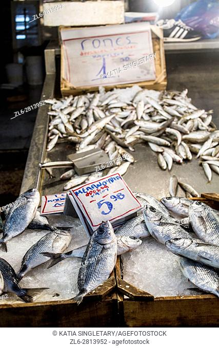 Meat and fish market in Athens, Greece where you can see the exposed meat and fish on the etalage