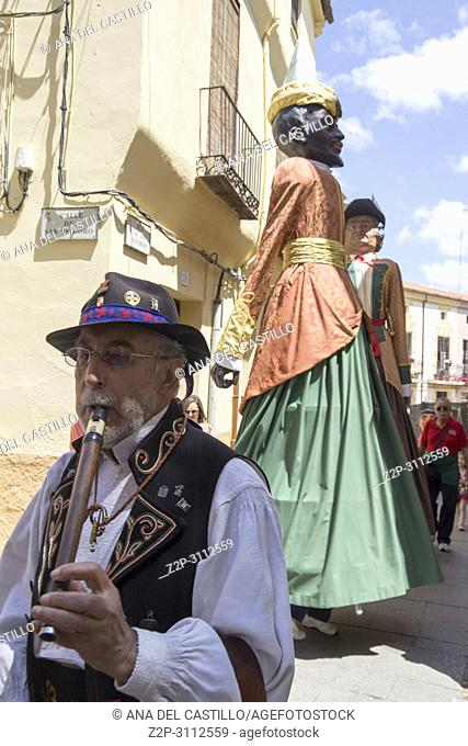 Gigantes y cabezudos parade the Corpus Christi day in Zamora on June 3, 2018