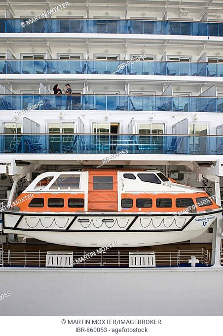 Lifeboat and cabins of the passenger cruise liner Diamond Princess, docked in Vancouver, British Columbia, Canada, North America