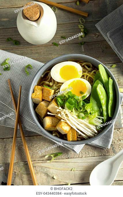 Homemade Japanese Vegan Tofu Ramen Noodles with Egg and Mushrooms