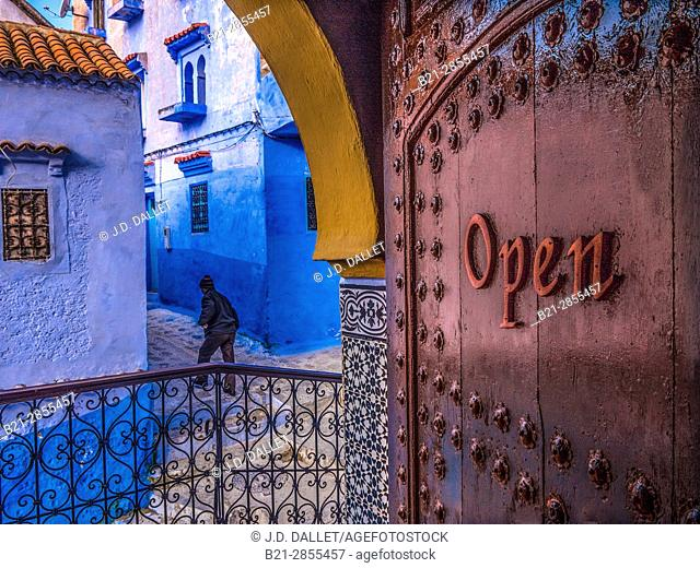 Morocco, street scene at Chechaouen