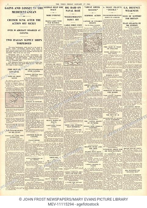 1941 page 4 The Times Naval Battles in the Mediterranean