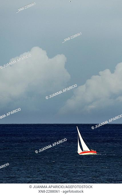 Sailboat, Sailing, Cantabria, Spain, Europe