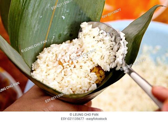 Homemade rice dumpling process