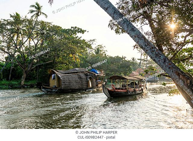 Houseboats, Kerala Backwaters, Kerala, India