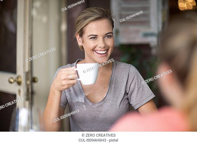 Two young adult female friends chatting in cafe