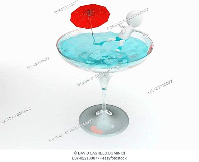 3d character having a bath in a glass