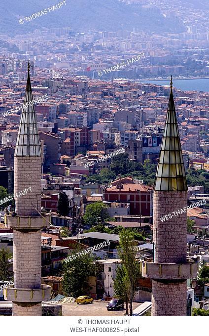 Turkey, Izmir, Aegean Region, Cityscape, Minarets in the foreground