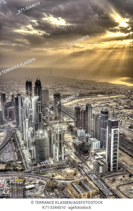 Sunset and the city skyline from Burj Khalifa in Dubai, UAE, Middle East