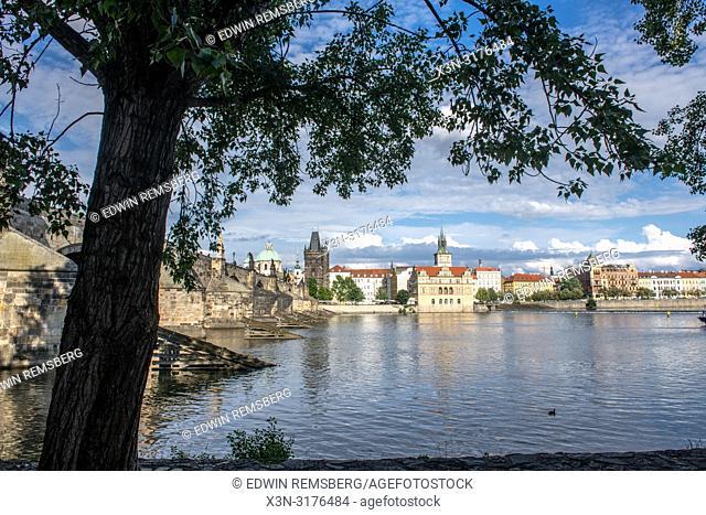 View of the Vltava River with Charles Bridge in Prague - Czech Republic