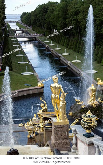 Golden statues and fountains in Peterhof Park Petrodvorets, St. Petersburg, Russia