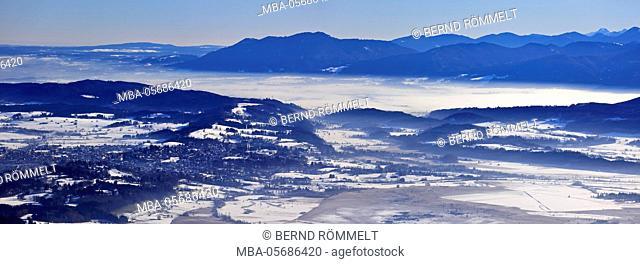 Germany, Bavaria, Upper Bavaria, Pfaffenwinkel, blue country, Ammergauer alps, view of the Hörnle on Murnau, Murnauer moss, Zwiesel, Blomberg