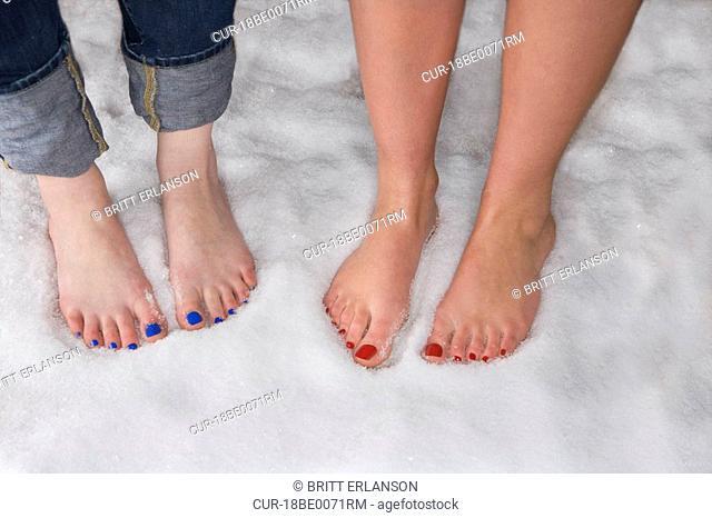 Women's bare feet in snow