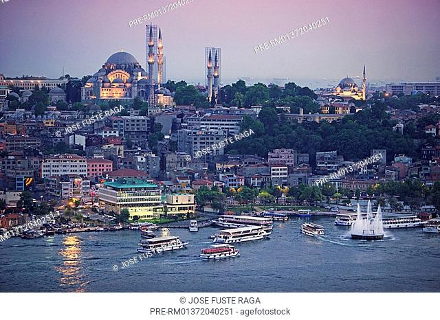The Golden Horn with Suleymaniye Mosque, Istanbul, Turkey, Europe
