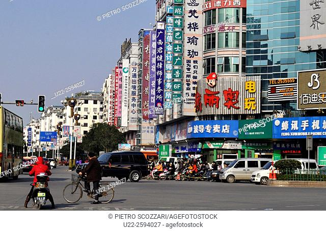 Guilin, China, malls and crossroads in the citys center...