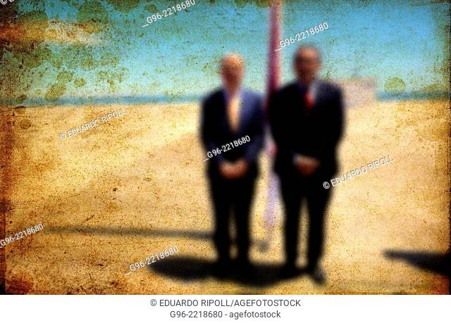 Blurred image of two men