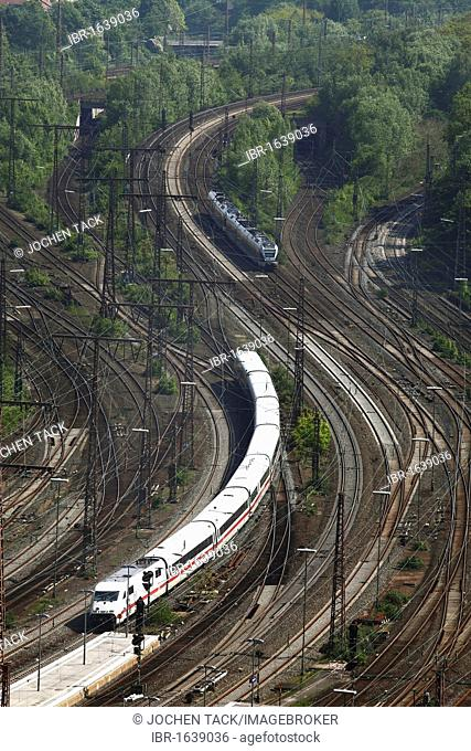 ICE, Intercity-Express train and a regional train on the track, railway, track network next to the Essen main railway station, Essen, North Rhine-Westphalia