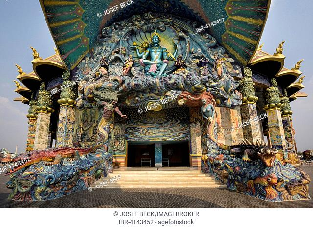 Phra Piroon, water god at the western entrance of the Elephant Temple Thep Wittayakhom Vihara, Wittayakom, Wat Baan Rai, Korat, Nakhon Ratchasima Province