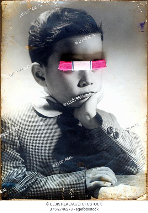 Antique portrait of young boy with hand on chin and pink ribbon covering his eyes