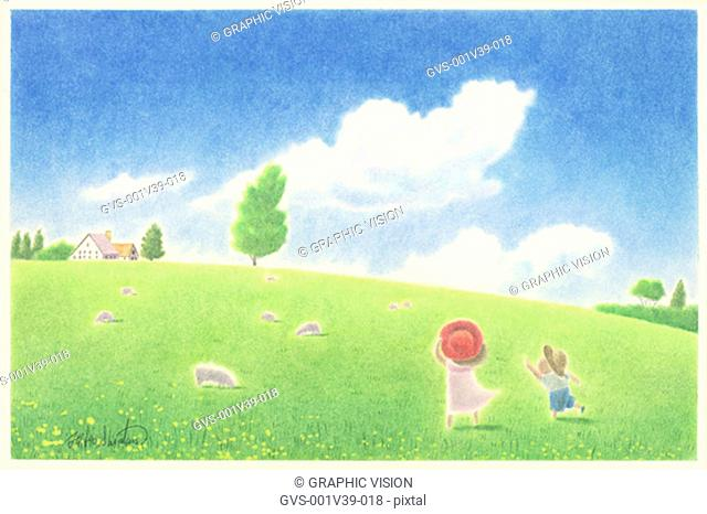 Illustration of Two Children in Meadow
