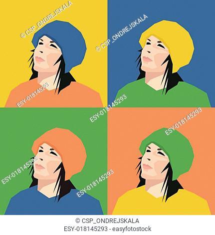 Four girl\'s Faces