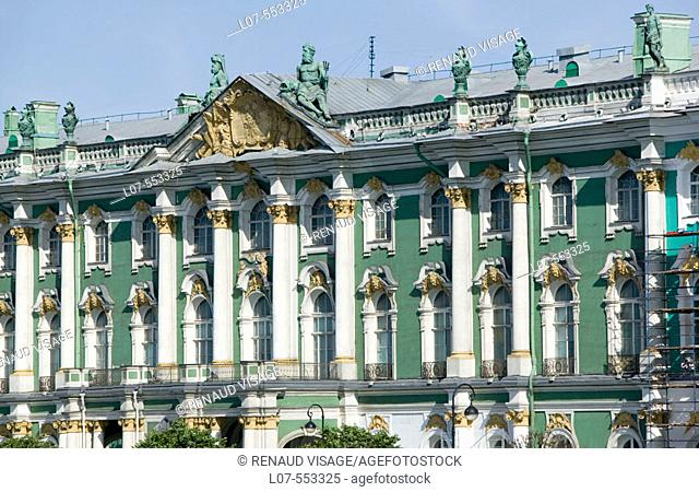 Facade of the Winter Palace of the Hermitage Museum. St Petersburg. Russia