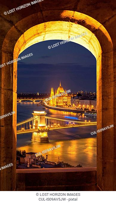 Chain Bridge and the Parliament, view from Fisherman's Bastion at night, Hungary, Budapest