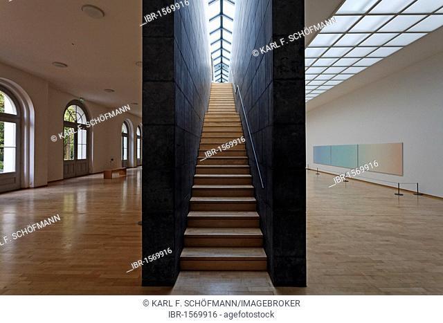 Contemporary staircase in the former lobby, Kurhaus Kleve art museum, Kleve, Niederrhein region, North Rhine-Westphalia, Germany, Europe
