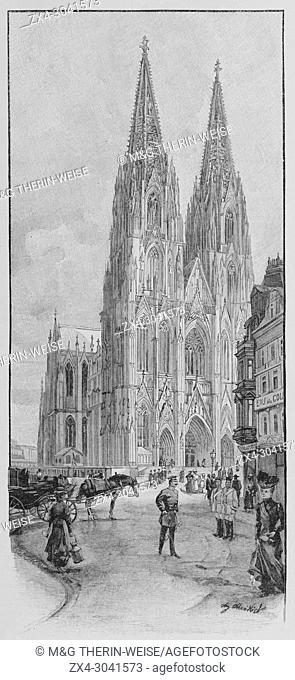 Cologne Cathedral in 1900, Picture from the French weekly newspaper l'Illustration, 17th November 1900