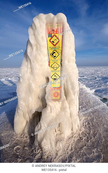 Icy sign, no diving, frozen Black Sea, a rare phenomenon, Odessa, Ukraine, Eastern Europe
