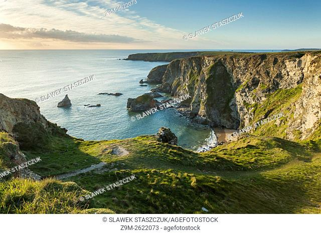 Spring evening at Bedruthan Steps, Cornwall, England