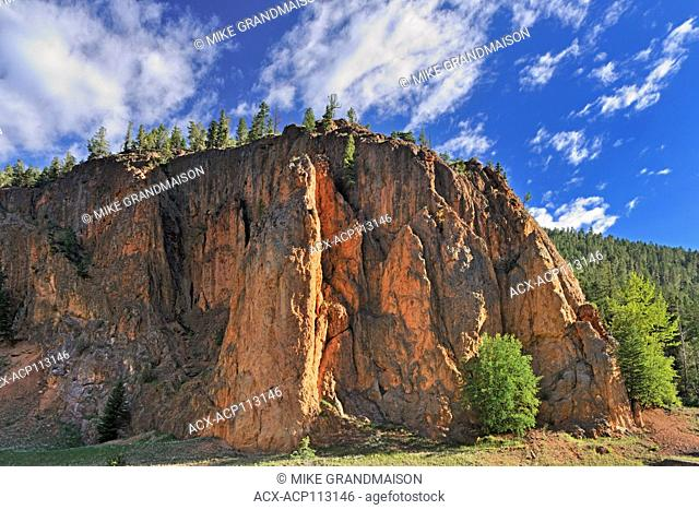 Red rock of Sinclair Canyon, Canadian Rocky Mountains, Kootenay National Park, British Columbia, Canada