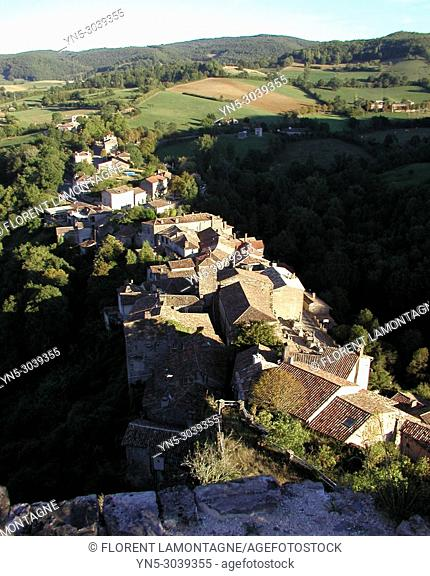 View on the village of Penne le chateau from the castle, in Tarn department, in region of Occitanie, France