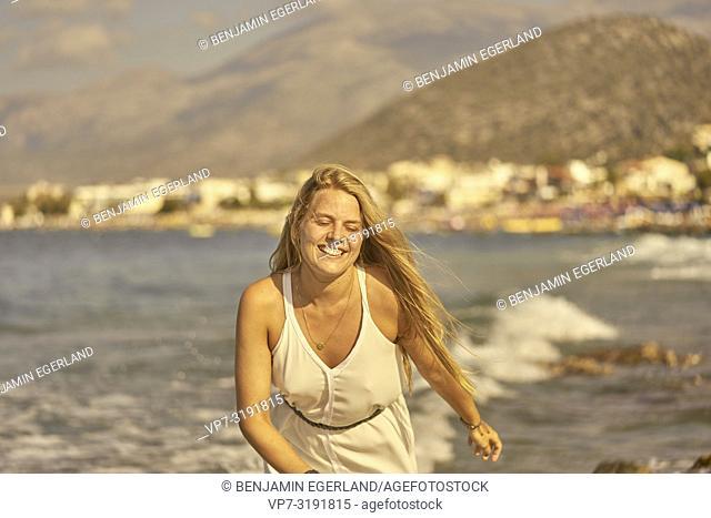 Woman at beach, Stalida, Crete, Greece