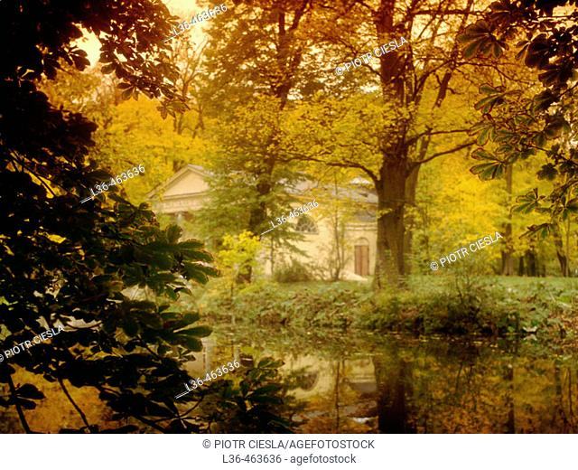 A romantic park called Arkadia in Central Poland near Lowicz town. XIX century