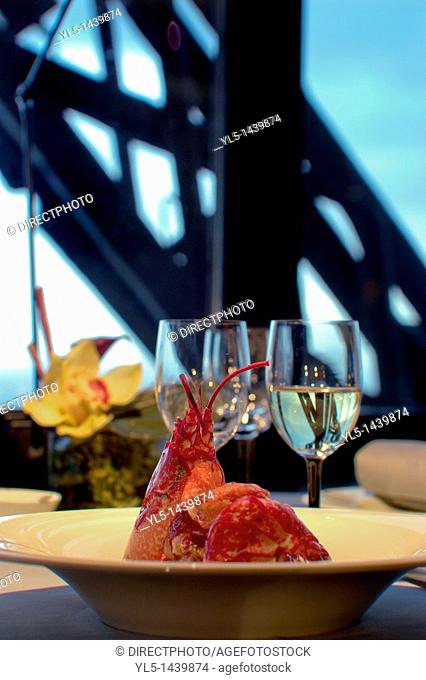 Paris, France, Haute-Cuisine French Restaurant in Eiffel Tower, Jules Verne Detail Lobster Plate