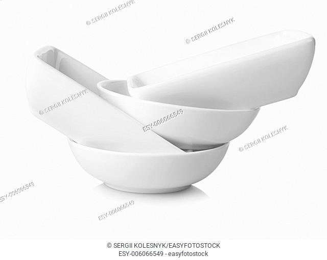 White dishes isolated on a white background