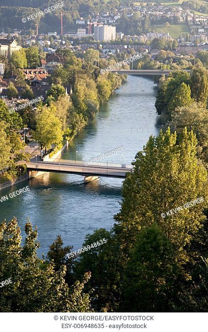 View of River Aar; Bern; Switerland; Europe