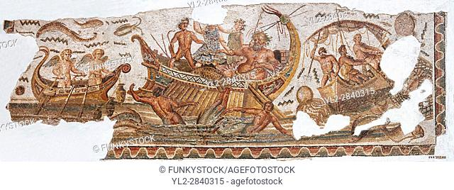 Roman mosaic depicting Dionysus repelling pirates from his ship. He is accompanied by Acoetes, the helmsman and his tutor Silenus, right