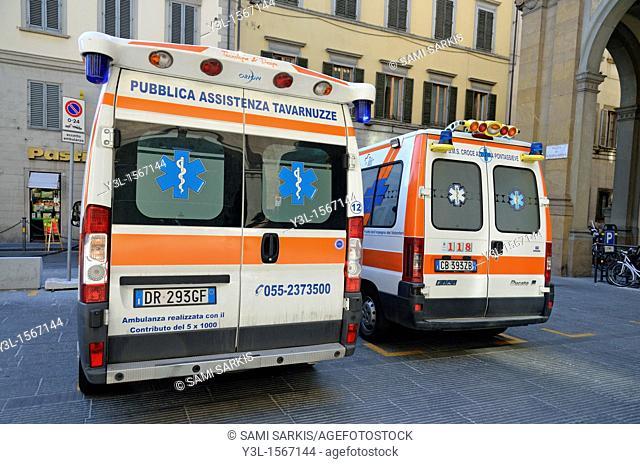 Ambulances at hospital parking lot, Florence, Tuscany, Italy